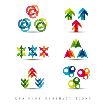 global communication: Business abstract icons set