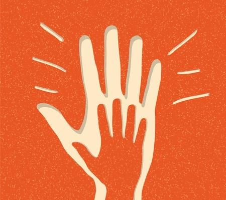 alzando la mano: Alegre Aplausos. vector de fondo Vectores