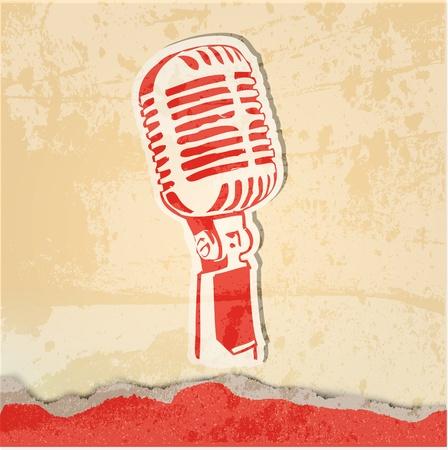 grunge concert poster met microfoon Stock Illustratie