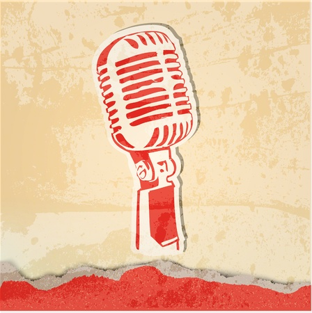 grunge concert poster with microphone Stock Vector - 13433009