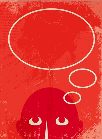 think up:  man with a empty speech bubble Illustration