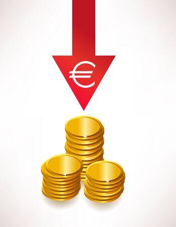 depreciation: The concept of depreciation of money  Euro Illustration