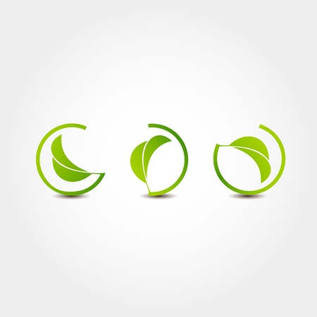 rounded circular: Leaf nature icons Illustration