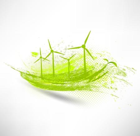 Vektor-Windenergieanlagen Konzept Vektorgrafik