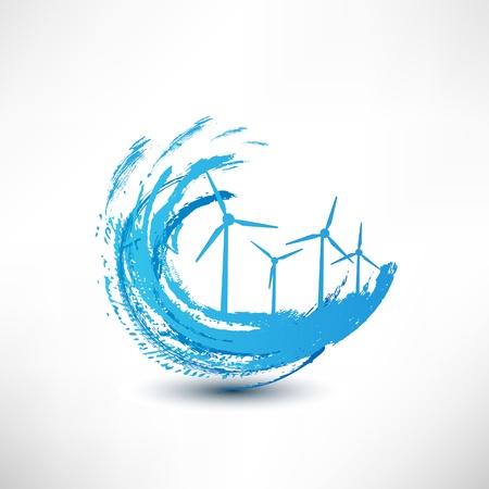 vector windturbines begrip Stock Illustratie