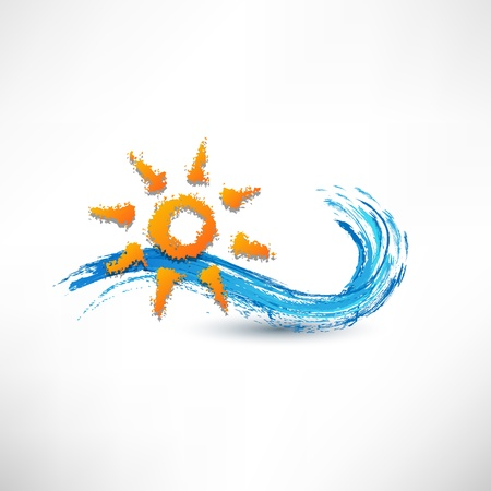 ocean view: sea waves and rising sun vector illustration