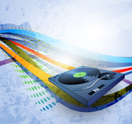 disco symbol: abstract grunge background, Illustration of a turntable