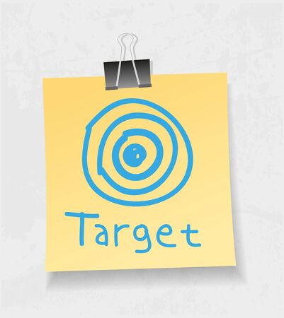 overhead view: Yellow note paper and attach  Target concept Illustration
