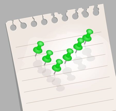 Note paper with  pins  Check Mark