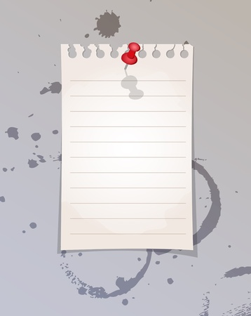 old notebook: Note paper and red pin Illustration