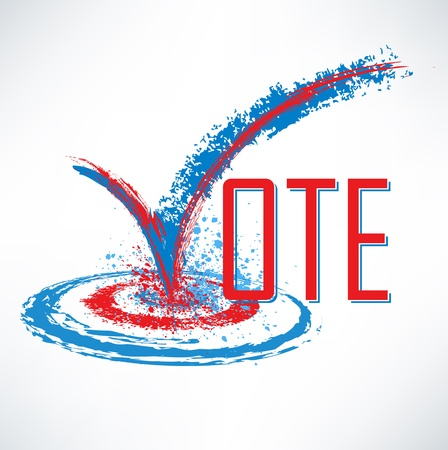 presidential election: Vote text with check mark and check box