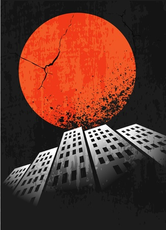 Apocalyptic retro poster  Sunset  Grunge background