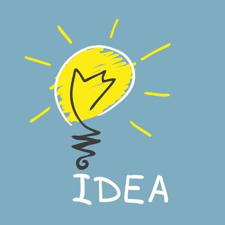communication cartoon: Innovative lamp   idea concept