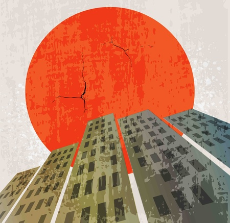 Apocalyptic retro poster  Sunset  Grunge background  Vector