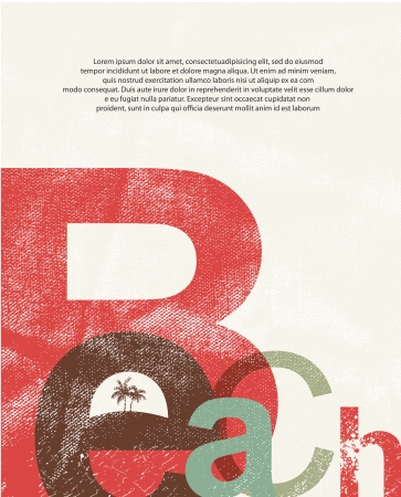 retro: Beach. Retro grunge typographic poster.