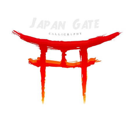 Japan Gate calligraphy. Abstract symbol of hand-drawn Vector