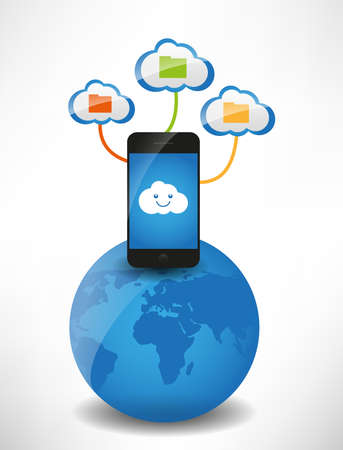 Cloud computing concept  Clouds with files, the mobile phone is on the globe Stock Vector - 14032613