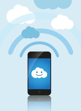 Cloud computing concept  Mobile phone makes contact with a cloud server  Vector