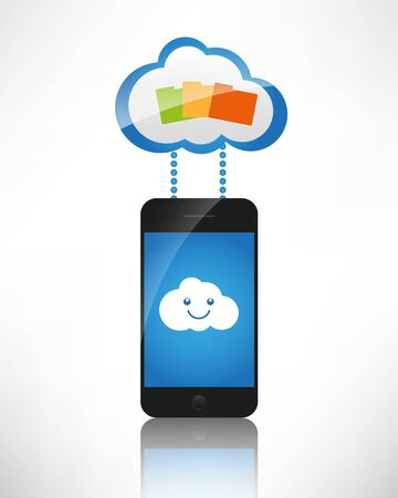Cloud computing  The concept of reception and transmission of information between the device and the server  Stock Vector - 14032617