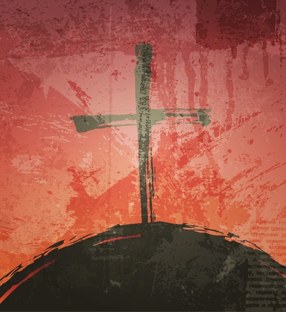 The cross on the grunge background  The biblical concept  Sunset Illusztráció