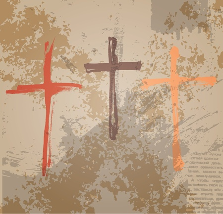 religious text: Three Crosses on the grunge background  The biblical concept of the crucifixion