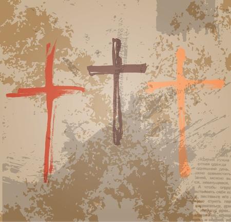 pasqua cristiana: Tre Croci sullo sfondo grunge Il concetto biblico della crocifissione Vettoriali