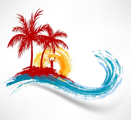Palm trees and ocean wave  Man against the sunset Vector