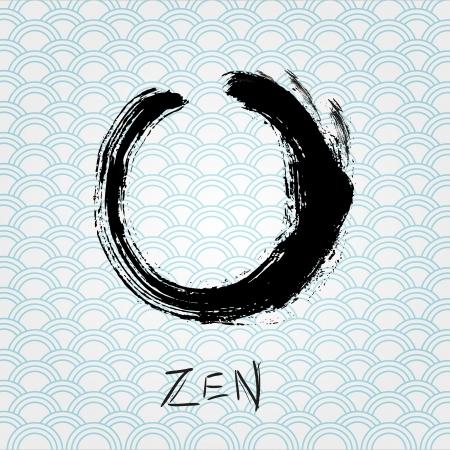 Zen calligraphy brushstroke circle  Oriental character  Vector