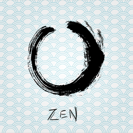 and sumi: Zen calligraphy brushstroke circle  Oriental character  Illustration
