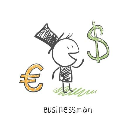 dolar: Hombre de negocios escoge entre dos monedas, el euro y la ilustración de negocios Dolar Vectores