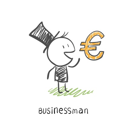Businessman and Euro symbol  Business illustration Stock Vector - 14134356