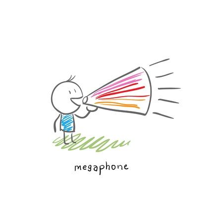 loudhailer: Hombre de dibujos animados e ilustraci�n meg�fono