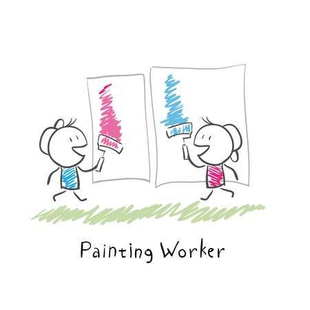 house painter: Two people paint rollers  Illustration