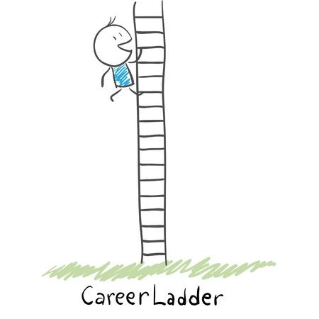 job opportunity: Man climbing the career ladder  Illustration  Illustration