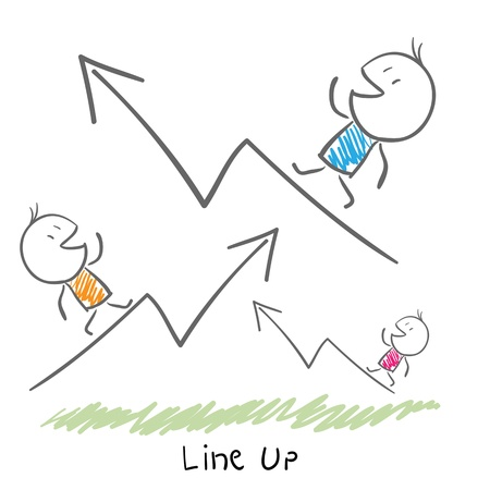 Conceptual illustration of the growth of the business  Line up  Vector
