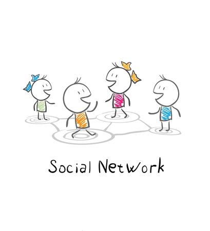 소셜 네트워크의 커뮤니티 사람들이 개념적 그림 일러스트