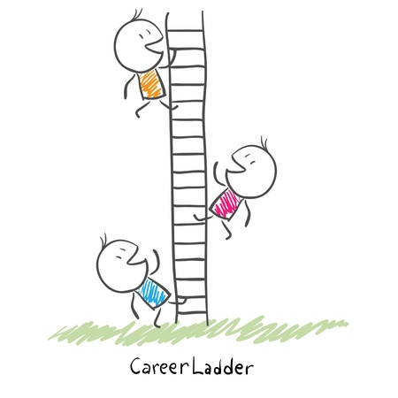 Business people climbing up the corporate ladder Conceptual illustration of career
