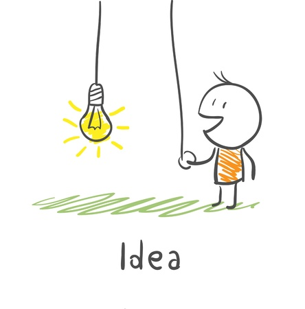idea: A person includes a light bulb  The concept of the idea  Illustration