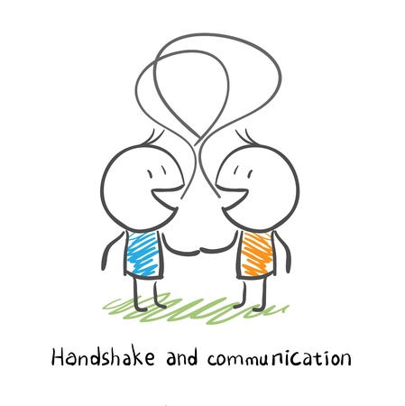 The two men shake hands, and socialize  Illustration