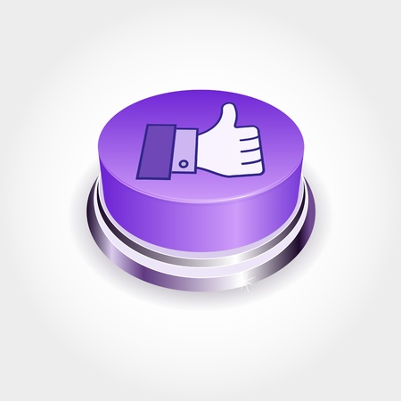 validate: Social media concept.  Like button in perspective. Thumb Up Illustration