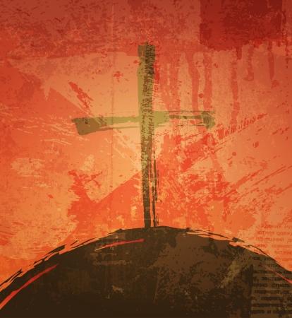 fondos religiosos: La cruz en el fondo del grunge. El concepto b�blico. Puesta del sol Vectores
