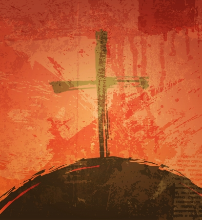 The cross on the grunge background. The biblical concept. Sunset Ilustração