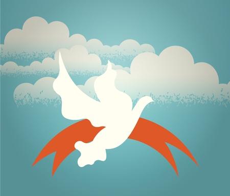 bandada pajaros: La paloma revoloteando en el cielo contra un fondo de nubes. Ilustración retro.