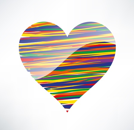 Heart  icon. Illustrated with colored stripes. The concept of love. Vector