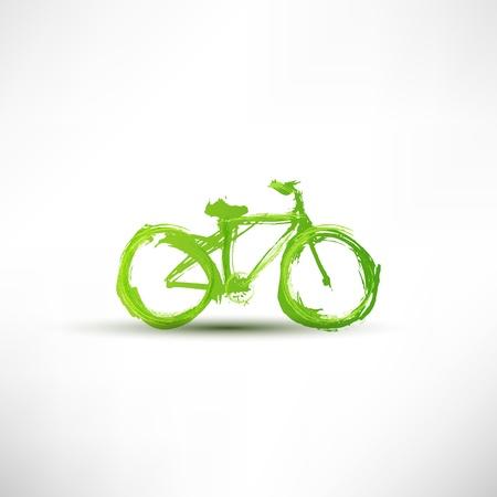 bicicleta retro: Bicicleta pintada con un pincel Vectores