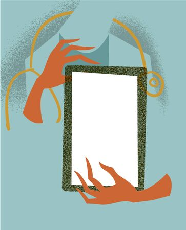 doctor tablet: Doctor holding a tablet  Medical illustration  Illustration