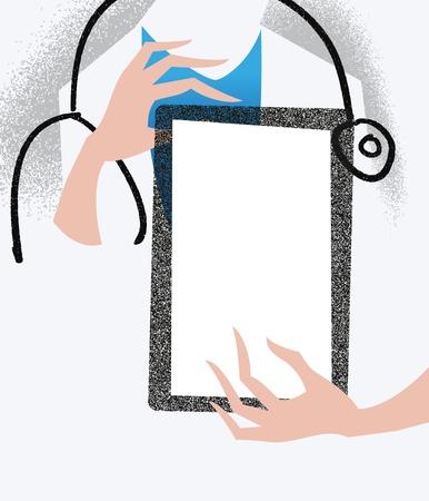 医療イラスト タブレットを保持している医者