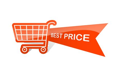 bestseller: Sale design sticker with shopping basket. Best price Illustration