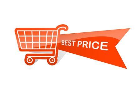 Sale design sticker with shopping basket. Best price Vectores