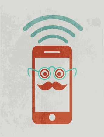 mobile device: Mobile phone wearing glasses. Geek concept.